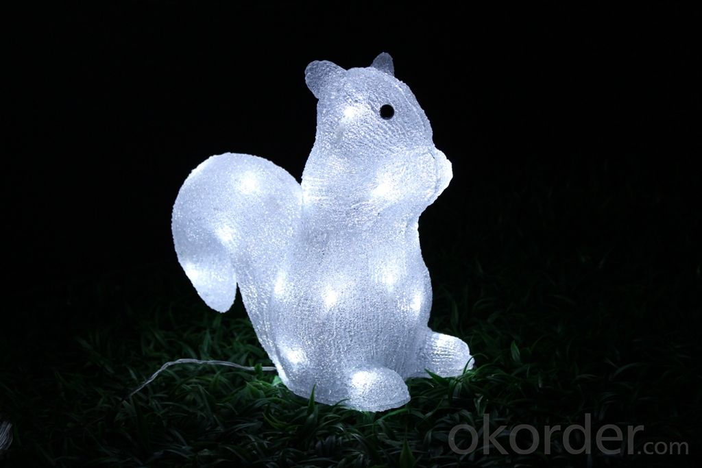 Christmas 3D Motif Light Acrylic Squirrel