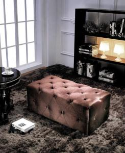 Fabric Chesterfield sofa red color ottoman