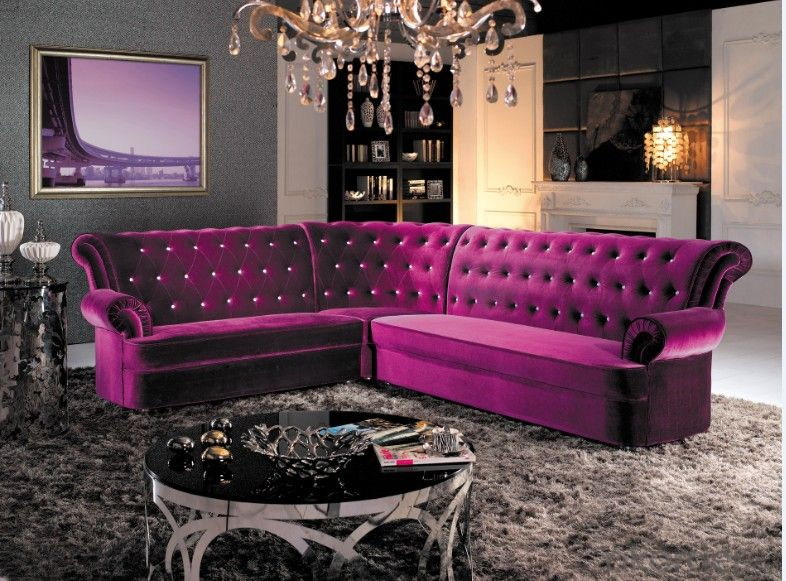 Fabric Chesterfield sofa red color L-sharp sofa