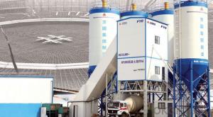 FANGYUAN Lifting Hopper Concrete Mixing Plant HZS150