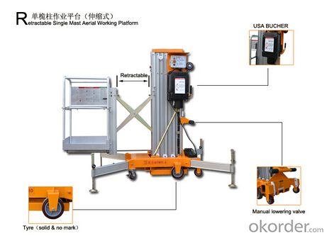 Retractable Single mast aerial working platform