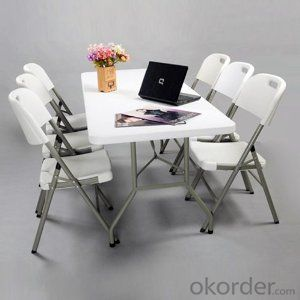 utdoor White Foldable Table Trestle Canteen Events Banquet HDPE Plastic Folding Tables