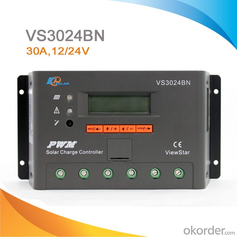 LCD/LED High Quality PWM Solar Panel Charge Controller/Regulator with CE ROHS, 30A 12V/24V,VS3024BN