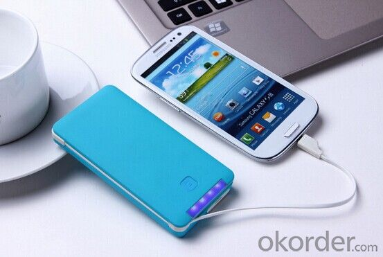 Build-in Cable and high quality portable charger with capacity 5000mah portable for Mobile Phones