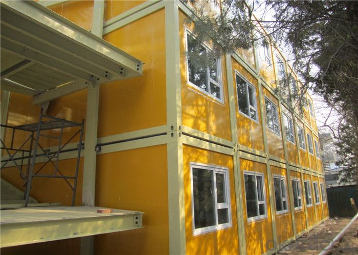 Custom-made Combined Prefab Container House, Galvanized Steel Frame with Marine Paint