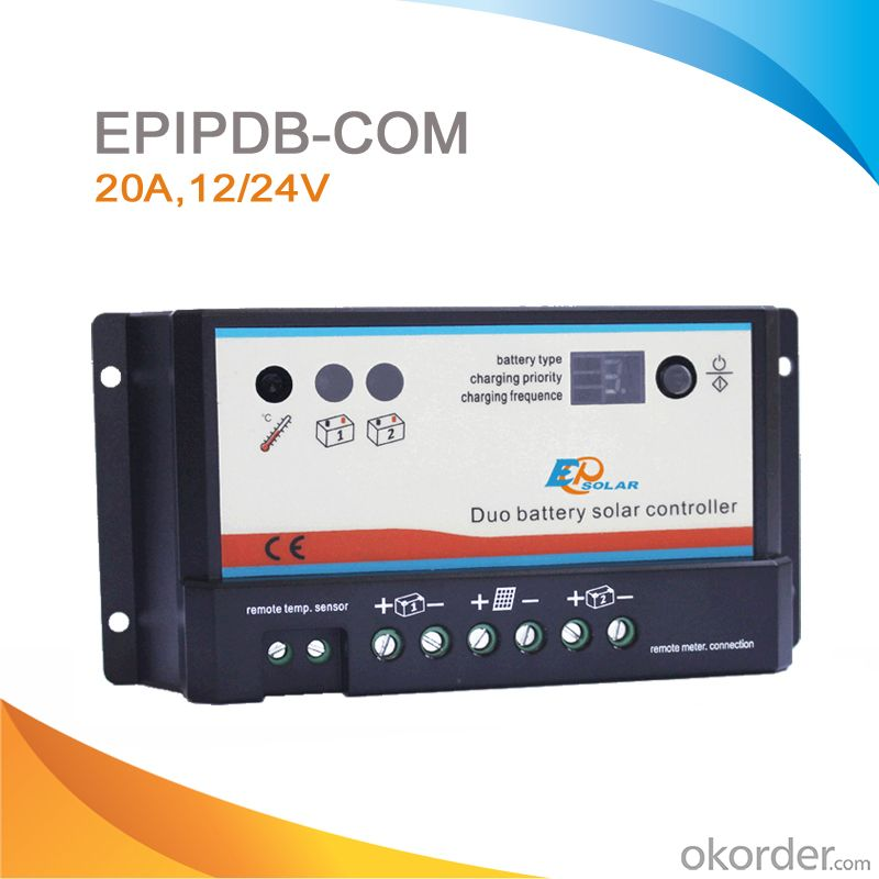 Duo Battery Charge Controller Solar for Caravan, Motorhome, Boat and Golf Cart,20A,12/24V,EPIPDB-COM