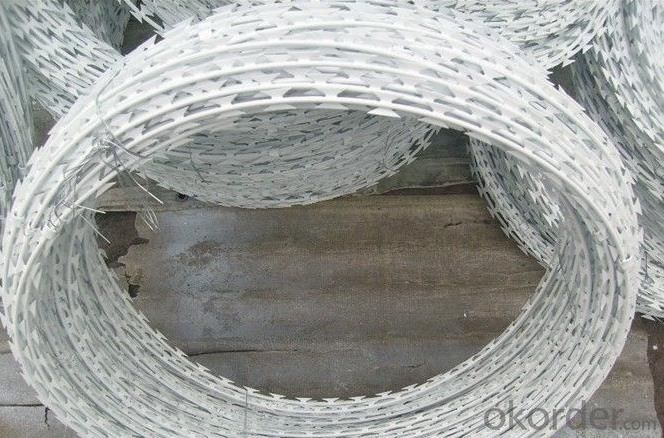 Galvanized Razor  Wire With Electro Dipped Galvanized Wire