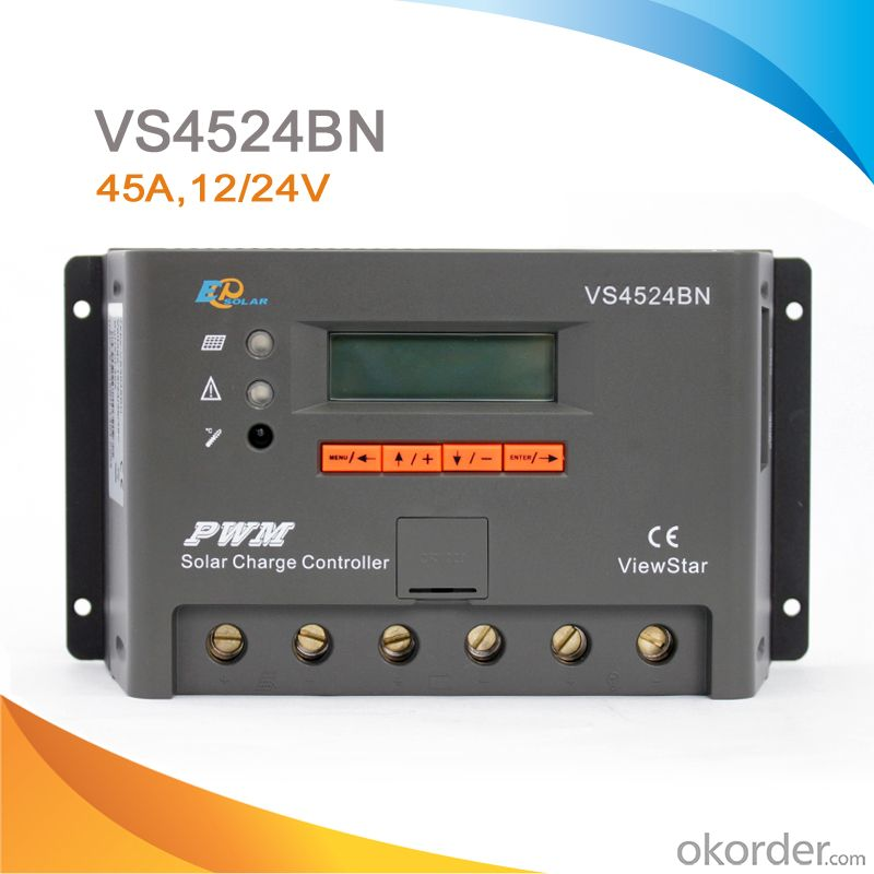 LCD/LED High Quality PWM Solar System Charge Controller/Regulator with CE ROHS,45A 12V/24V ,VS4524BN