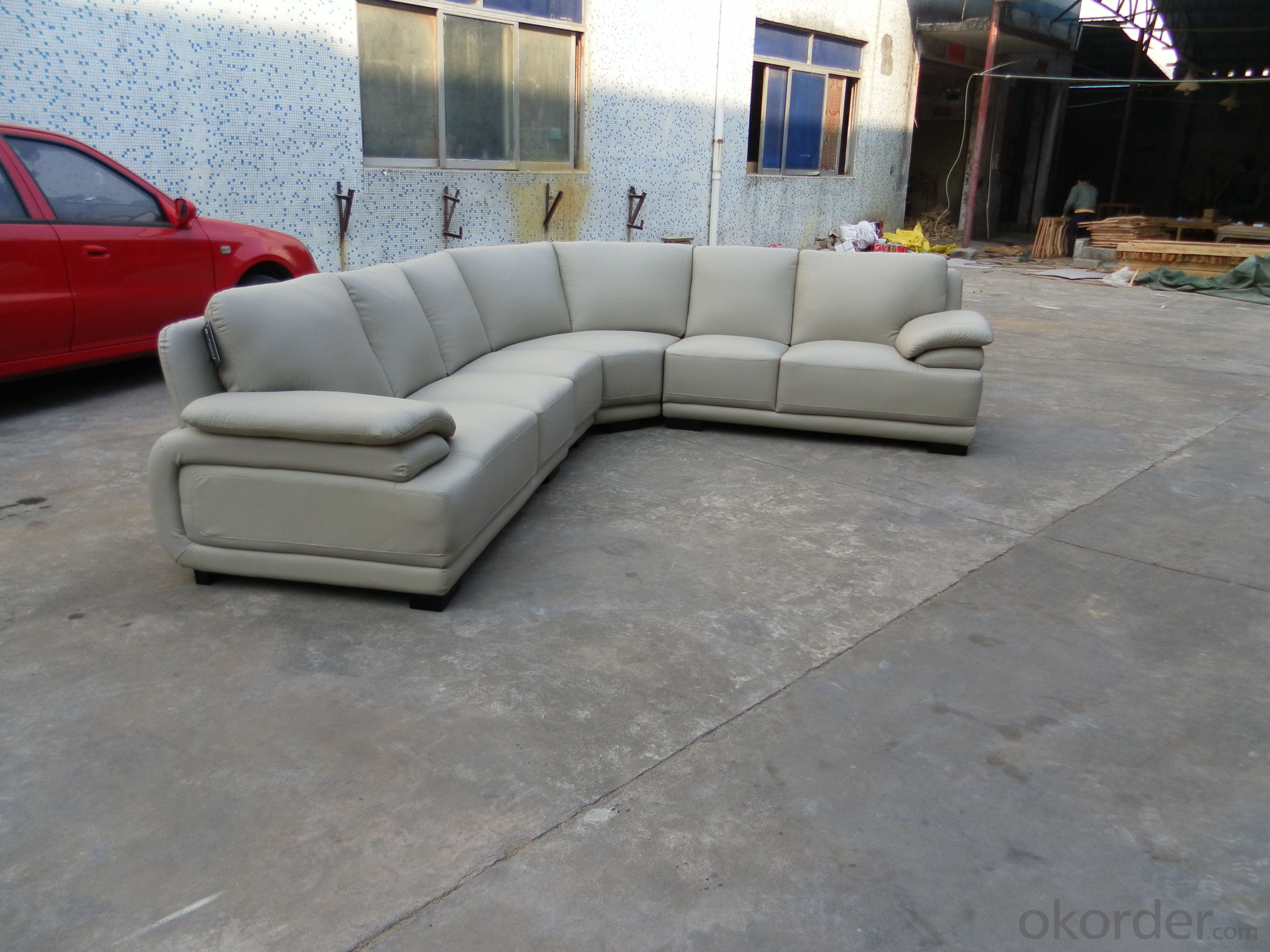 L shape living room sofa leather couch  711