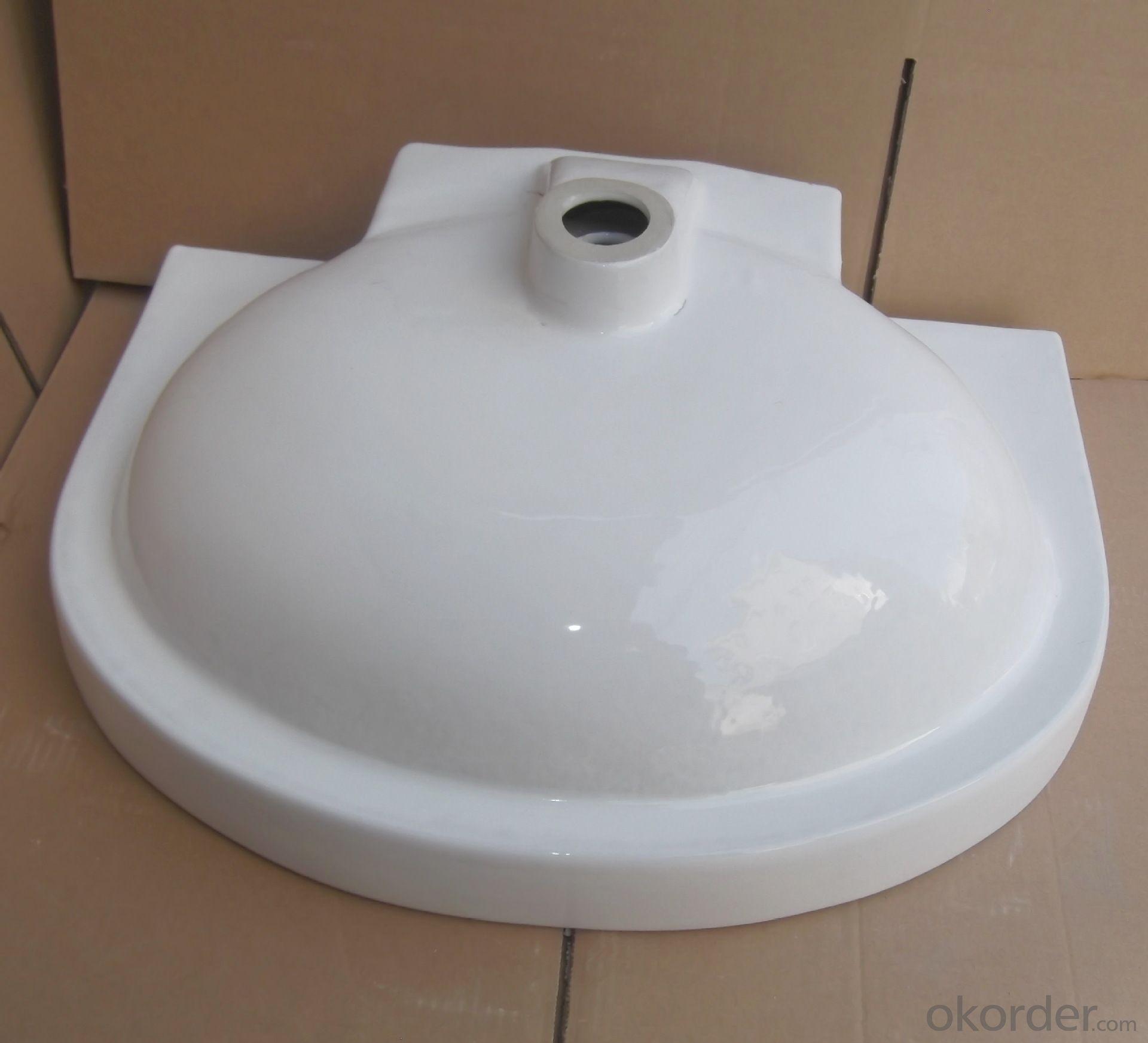 White ceramic stone under counter basin 24-inch