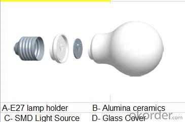 LED bulb, E27 screw-on, Ø55mm*104mm, 3.5W, 8leds, SMD2835, 250-350lm, White 5500-6500K, Ceramics+Glass