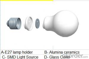 LED bulb, E27 screw-on, MØ45mm*104mm, 3.5W, 8leds, SMD2835, 250-350lm, White 5500-6500K, Ceramics+Glass