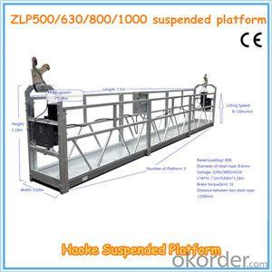 Motor 1.8KW 8KN ZLP 800 Durable Suspended Working Platform With Steel Rope 8.6mm Diameter