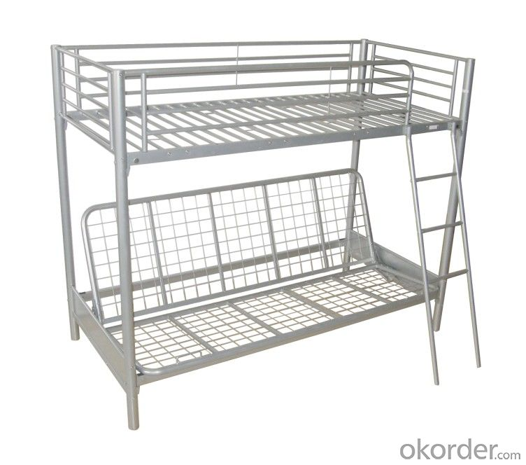 metal bunk bed with a sofa bed