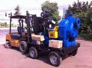 Self priming centrifugal diesel engine four wheel trailer pump