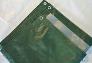 Green& silver PE tarpaulin for truck