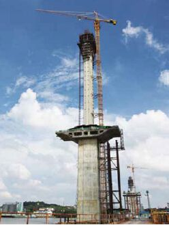Auto-Hydraulic climbing formwork for river bridge