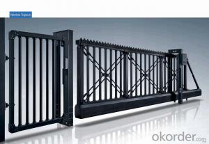 aluminum alloy automatic sliding doors designs electric collapsible folding gate for police station-L1329