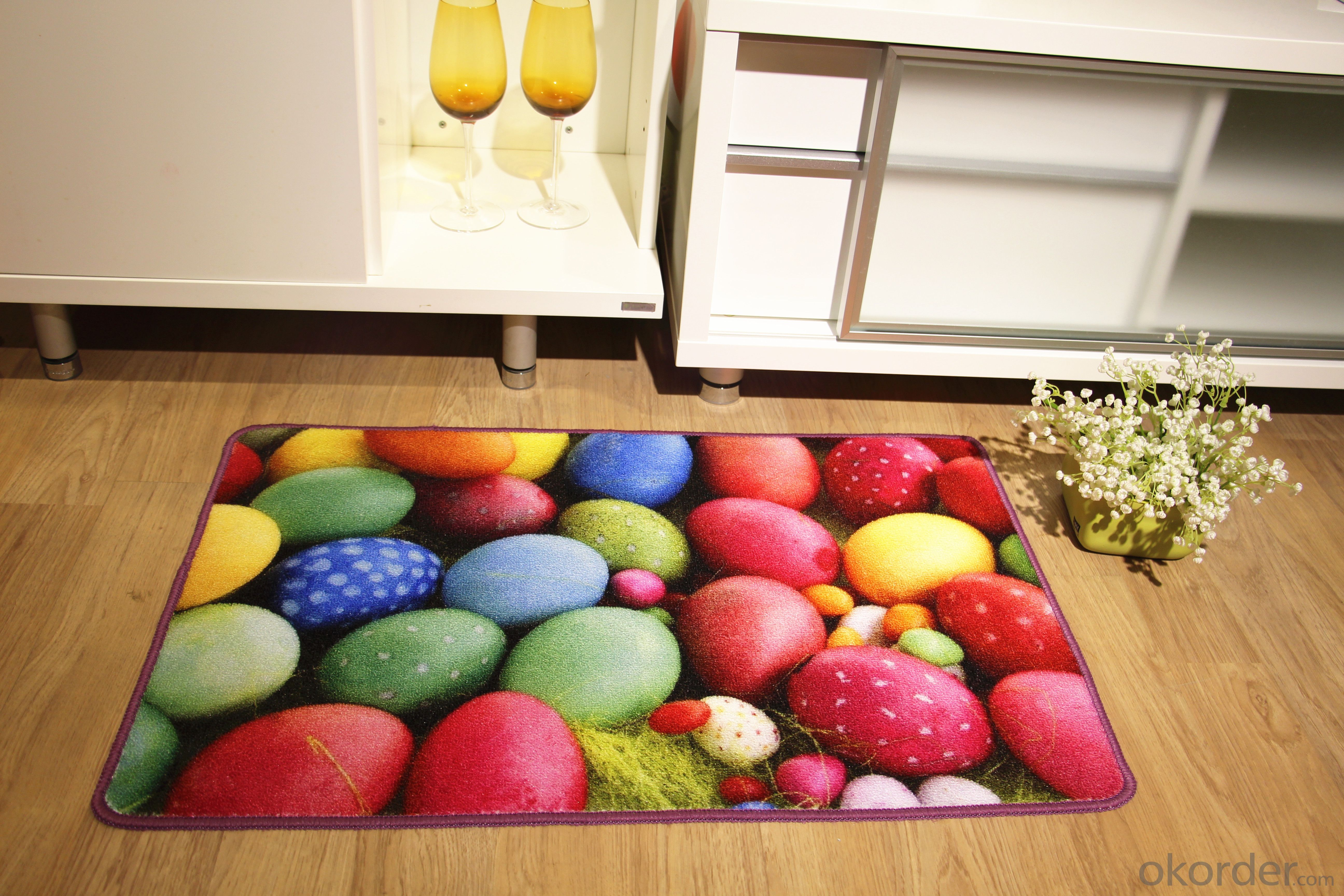 Latex Back Nylon Printed Carpet Colorful Pattern