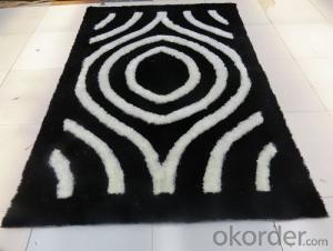 Wave Shape Balck and Yellow Color Hand Tufted Polyester Shaggy Rug