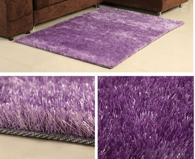 Purple Plain Color Hand Tufted  1200D  Korea  Viscose Carpet