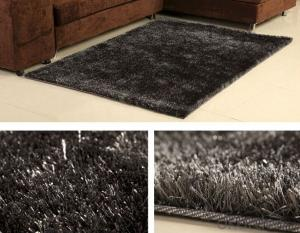 Good Quatlity Grey Color Polyester Shaggy  Rug