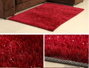 Hand Tufted Red Color Polyester Shaggy  Rug