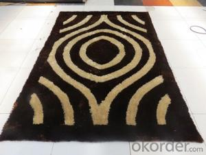 Balck and Yellow Color Hand Tufted Polyester Shaggy Rug