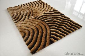 Hot Sale Brown Color Hand Tufted 3D Pattern Polyester Shaggy Carpet