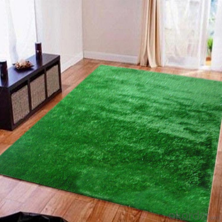 Hand Tufted Green Color Polyester Shaggy  Rug with 25mm Pile Height