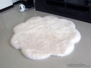 Round Flower Shape Pure White Australia Sheepskin Rug