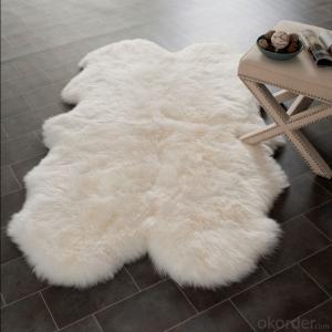 Double Size Pure White Australia Sheepskin Rug Used in Bedroom