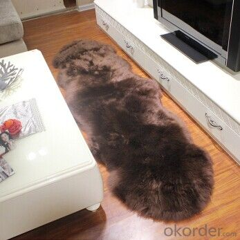 Maroon Color Sheepskin Rug from China Manufacture