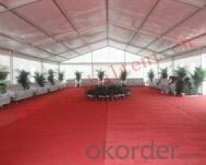Outdoor big party event tent with red carpet