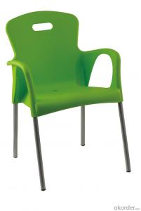 Plastic outdoor stacking dining chair for outdoor cafe table