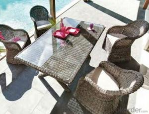 Synthetic Wicker Dining Table and Chair