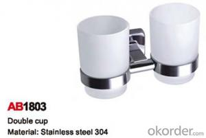China Stainless Steel Bathroom Accessory Double Cup AB1803