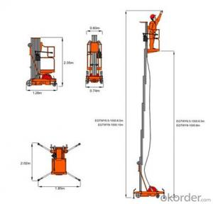 Mobile Aluminium Work Platform single mast (manual)