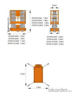 Mobile Aluminium Work Platform dual mast GTWY series