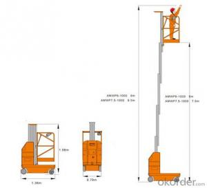 Electric Aluminium Work Platform Single Mast
