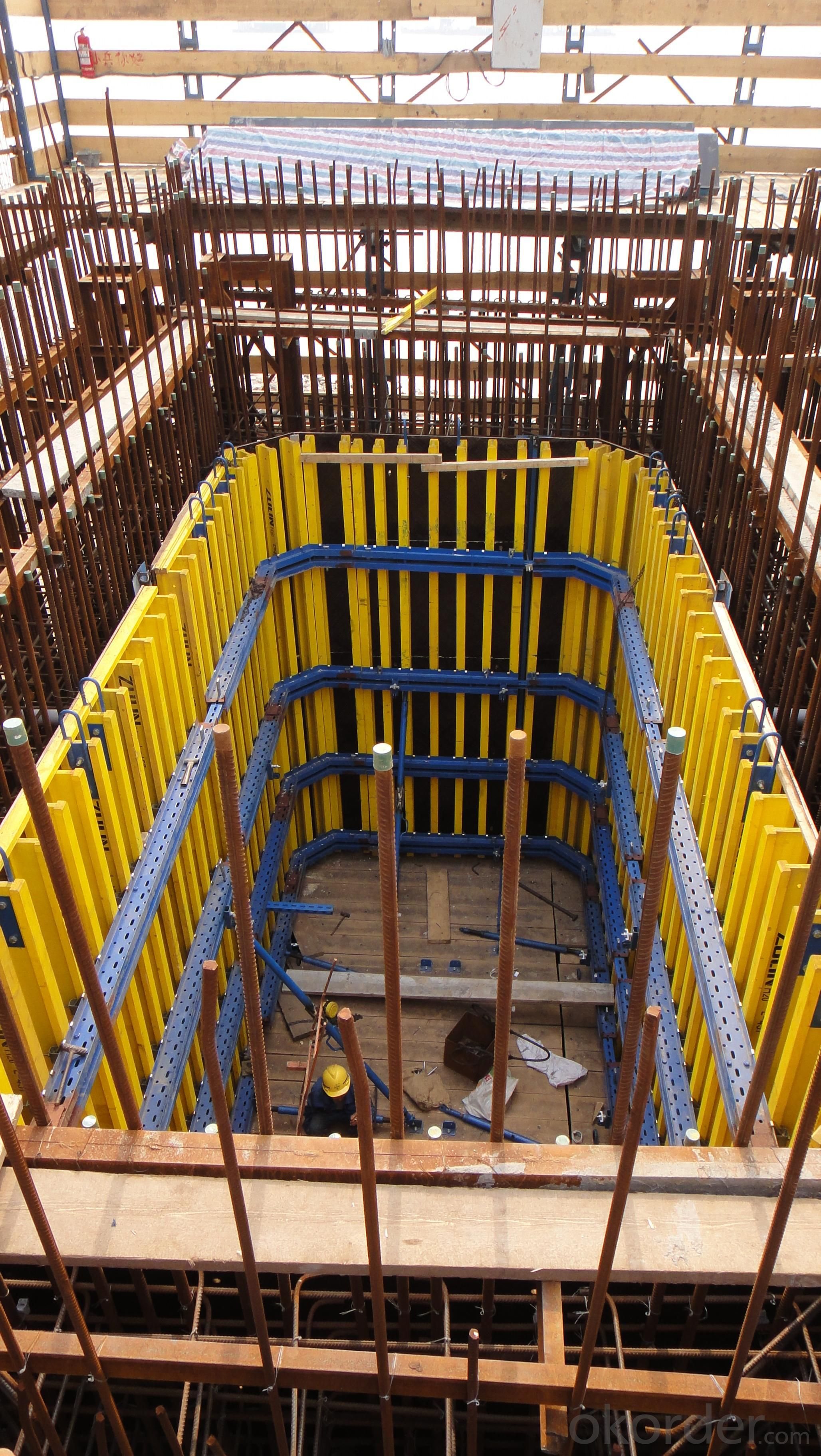 Timbe Beam Formwork  Used in The Concrete Pouring of Elevator Well
