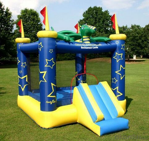 New style blue yellowl inflatable castle with slide