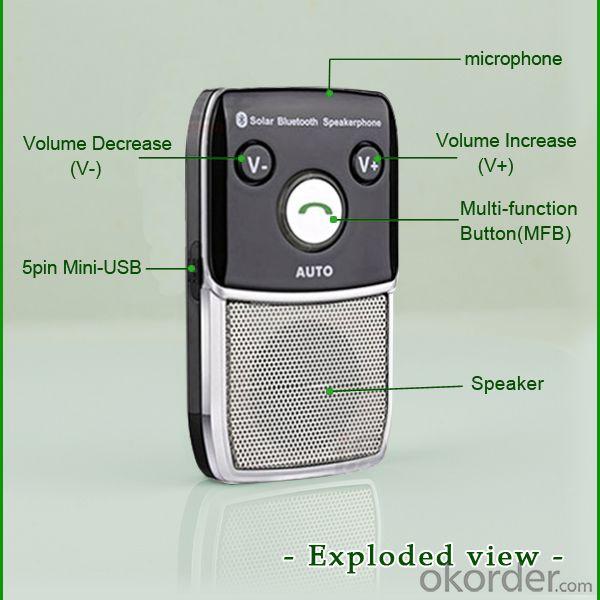 Wireless phone solar bluetooth handsfree car kit speakerphone support music play