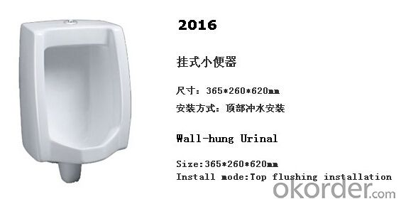 Wall Hung Male Ceramic Men's Corner Urinal -2016