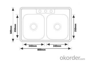 800x500mm Size 201 SS South American Sink Design
