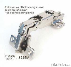 Full Overlay/ Half overlay/ insert slide on (or clip on) 165 degree spring hinge