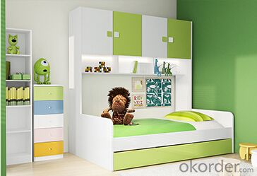 Hot Selling Children Wooden Single Bed with Cupboards WB02