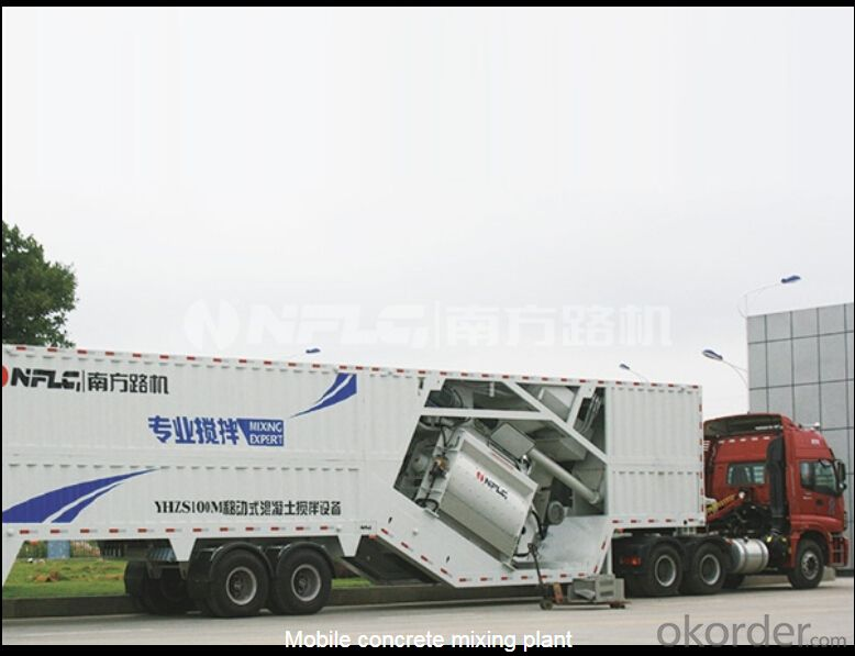 Mobile concrete mixing plant,distinguished with compact structure