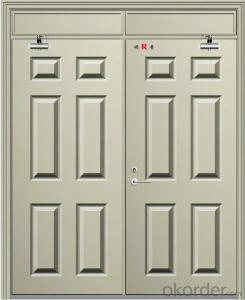 Double leaf emergency fire doors with different color