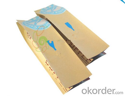 side gusset customed brown kraft paper bag with valve